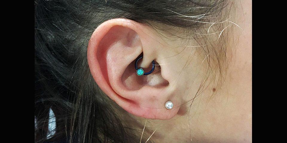 Daith titane bleu et opale